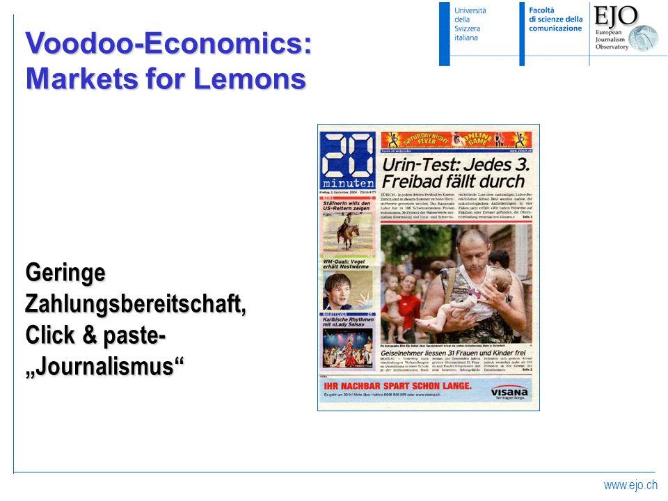 www.ejo.ch Voodoo-Economics: Markets for Lemons GeringeZahlungsbereitschaft, Click & paste- Journalismus