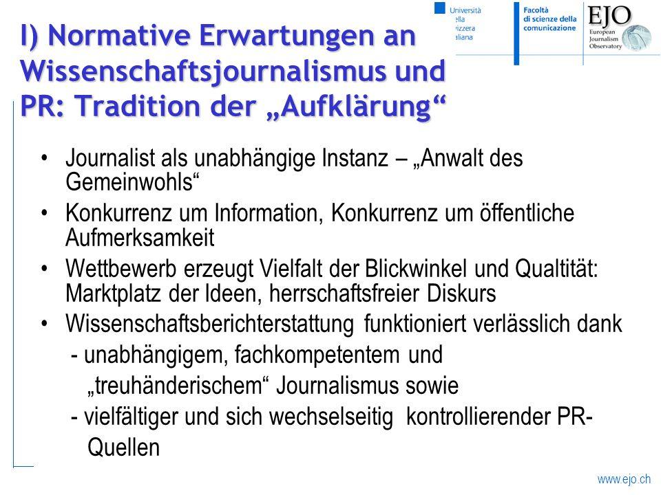 www.ejo.ch I) Normative Erwartungen an Wissenschaftsjournalismus und PR: Tradition der Aufklärung Journalist als unabhängige Instanz – Anwalt des Geme
