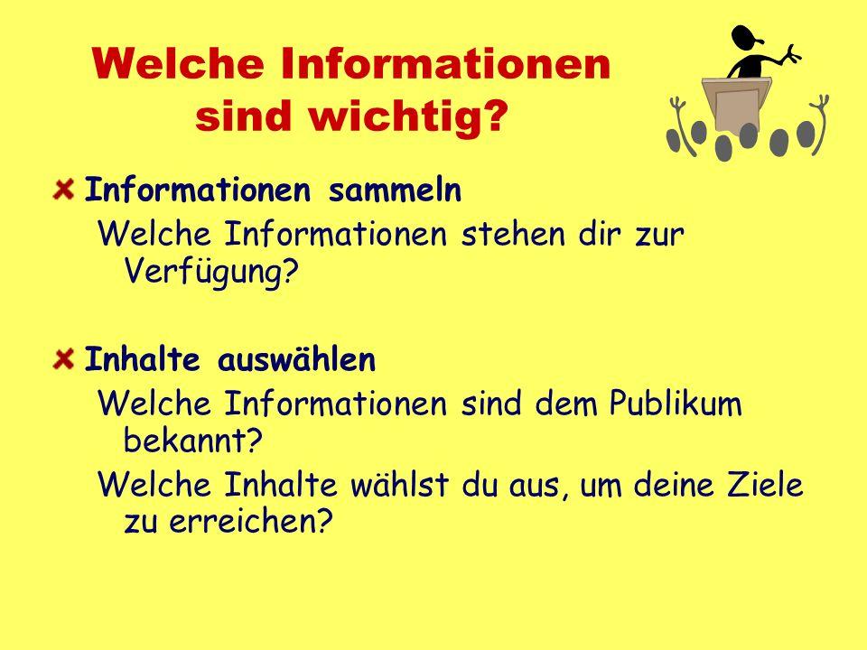 Welche Informationen sind wichtig? Informationen sammeln Welche Informationen stehen dir zur Verfügung? Inhalte auswählen Welche Informationen sind de