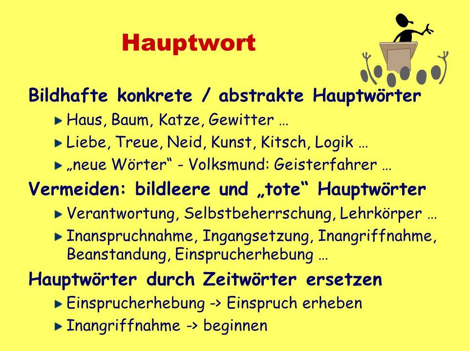 Hauptwort Bildhafte konkrete / abstrakte Hauptwörter Haus, Baum, Katze, Gewitter … Liebe, Treue, Neid, Kunst, Kitsch, Logik … neue Wörter - Volksmund: