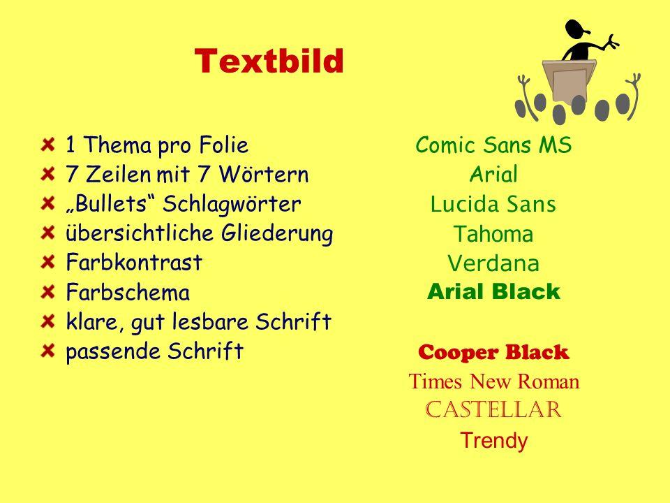 Textbild 1 Thema pro Folie 7 Zeilen mit 7 Wörtern Bullets Schlagwörter übersichtliche Gliederung Farbkontrast Farbschema klare, gut lesbare Schrift pa