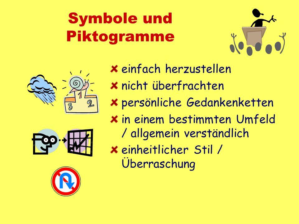 Symbole und Piktogramme einfach herzustellen nicht überfrachten persönliche Gedankenketten in einem bestimmten Umfeld / allgemein verständlich einheit