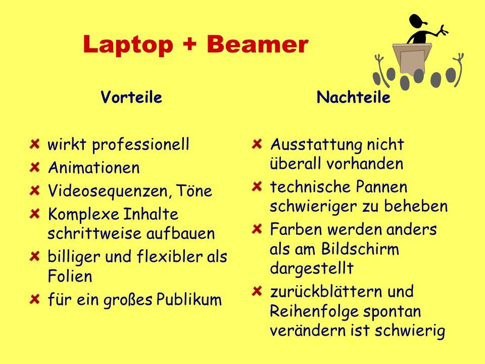 Laptop + Beamer Vorteile wirkt professionell Animationen Videosequenzen, Töne Komplexe Inhalte schrittweise aufbauen billiger und flexibler als Folien