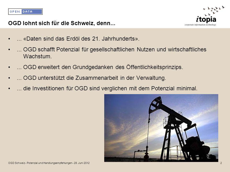 OGD lohnt sich für die Schweiz, denn...... «Daten sind das Erdöl des 21.
