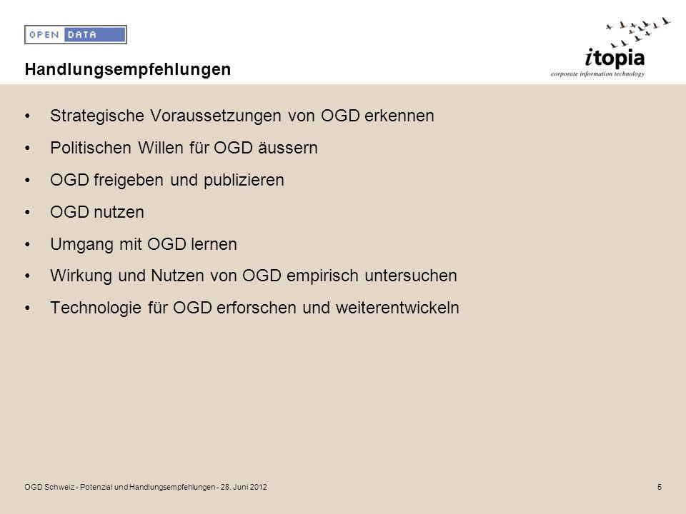 Handlungsempfehlungen Strategische Voraussetzungen von OGD erkennen Politischen Willen für OGD äussern OGD freigeben und publizieren OGD nutzen Umgang mit OGD lernen Wirkung und Nutzen von OGD empirisch untersuchen Technologie für OGD erforschen und weiterentwickeln 5OGD Schweiz - Potenzial und Handlungsempfehlungen - 28.
