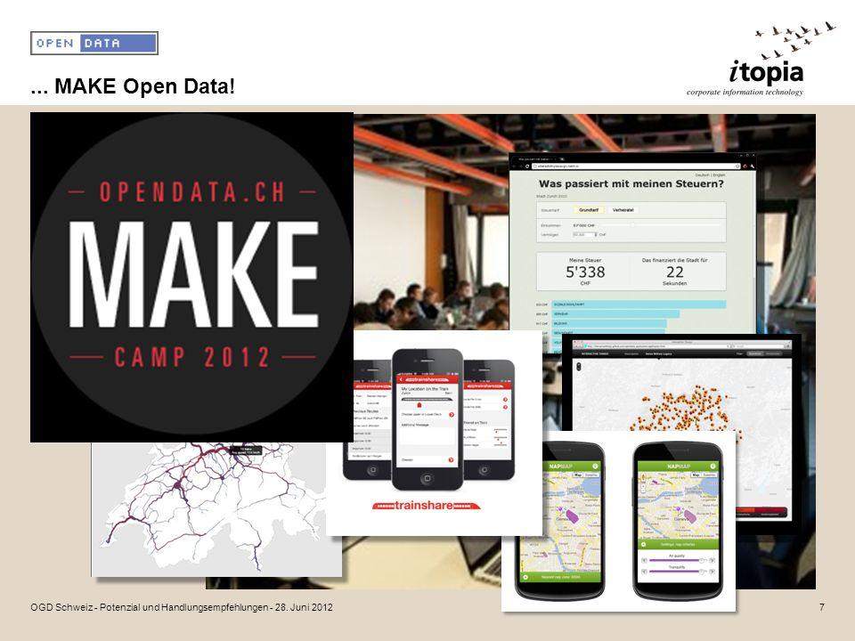 ... MAKE Open Data! 7OGD Schweiz - Potenzial und Handlungsempfehlungen - 28. Juni 2012