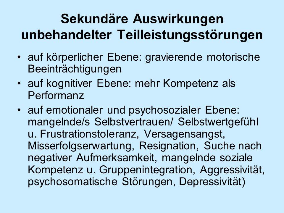 Sekundäre Auswirkungen unbehandelter Teilleistungsstörungen auf körperlicher Ebene: gravierende motorische Beeinträchtigungen auf kognitiver Ebene: me