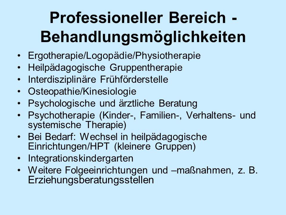 Professioneller Bereich - Behandlungsmöglichkeiten Ergotherapie/Logopädie/Physiotherapie Heilpädagogische Gruppentherapie Interdisziplinäre Frühförder