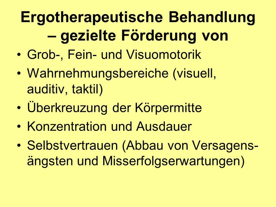 Ergotherapeutische Behandlung – gezielte Förderung von Grob-, Fein- und Visuomotorik Wahrnehmungsbereiche (visuell, auditiv, taktil) Überkreuzung der