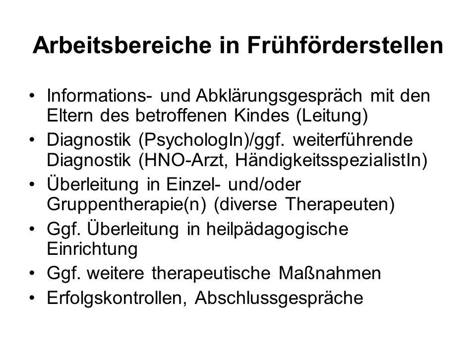 Arbeitsbereiche in Frühförderstellen Informations- und Abklärungsgespräch mit den Eltern des betroffenen Kindes (Leitung) Diagnostik (PsychologIn)/ggf