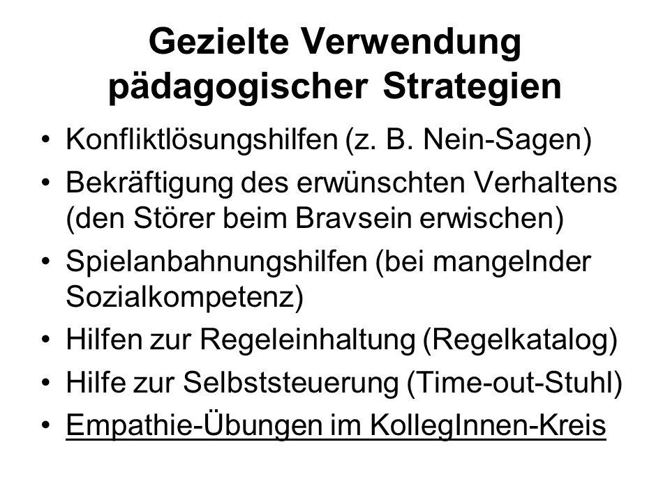 Gezielte Verwendung pädagogischer Strategien Konfliktlösungshilfen (z. B. Nein-Sagen) Bekräftigung des erwünschten Verhaltens (den Störer beim Bravsei