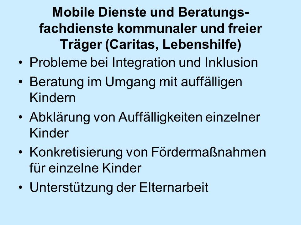 Mobile Dienste und Beratungs- fachdienste kommunaler und freier Träger (Caritas, Lebenshilfe) Probleme bei Integration und Inklusion Beratung im Umgan