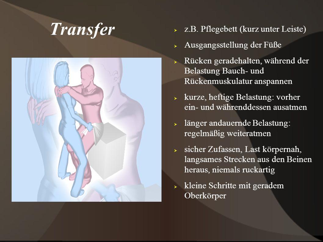 Transfer z.B. Pflegebett (kurz unter Leiste) Ausgangsstellung der Füße Rücken geradehalten, während der Belastung Bauch- und Rückenmuskulatur anspanne