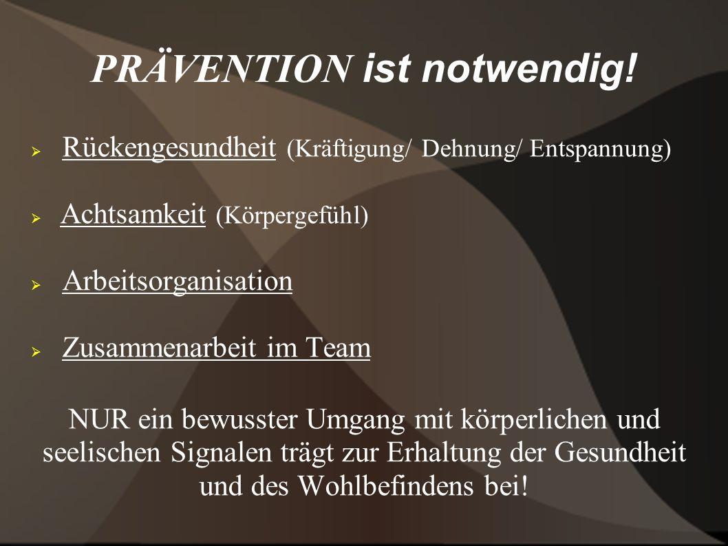 PRÄVENTION ist notwendig! Rückengesundheit (Kräftigung/ Dehnung/ Entspannung) Achtsamkeit (Körpergefühl) Arbeitsorganisation Zusammenarbeit im Team NU