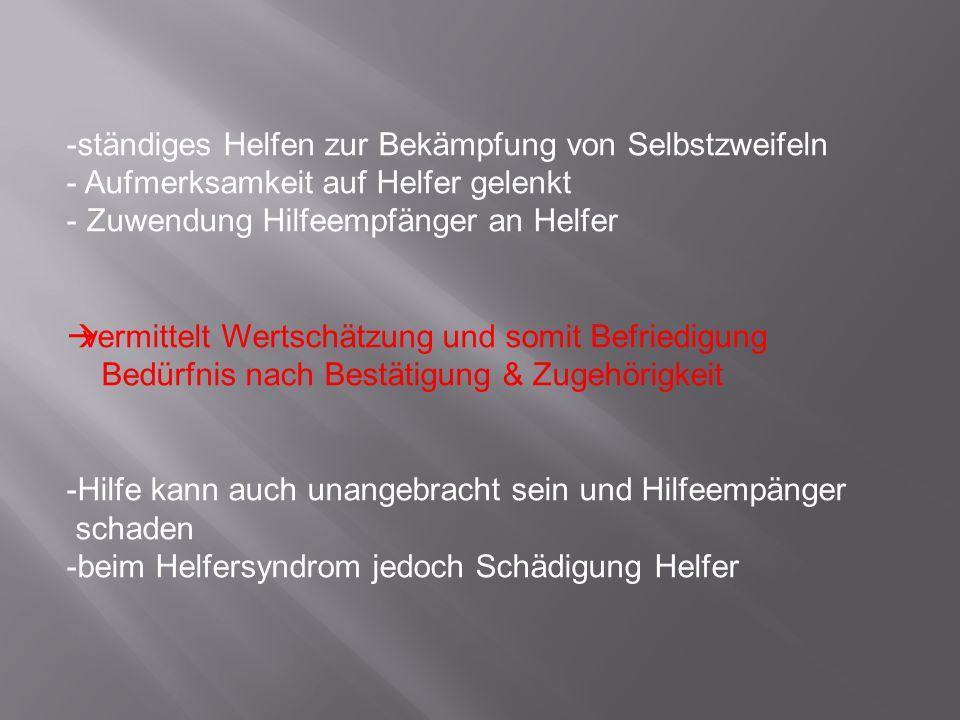 Helfersyndrom schadet….