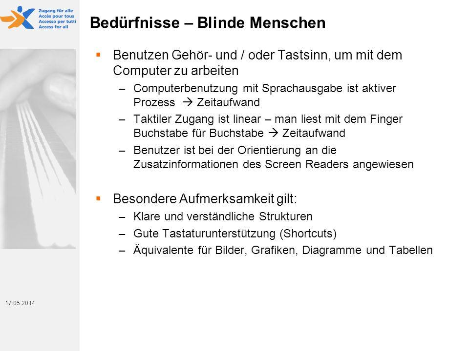 17. Mai 2014 17.05.2014 Bedürfnisse – Blinde Menschen Benutzen Gehör- und / oder Tastsinn, um mit dem Computer zu arbeiten –Computerbenutzung mit Spra