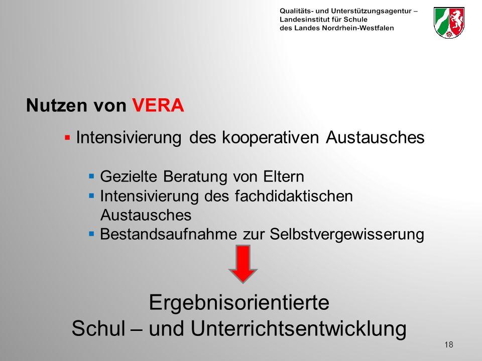 Nutzen von VERA 18 Intensivierung des kooperativen Austausches Gezielte Beratung von Eltern Intensivierung des fachdidaktischen Austausches Bestandsaufnahme zur Selbstvergewisserung Ergebnisorientierte Schul – und Unterrichtsentwicklung
