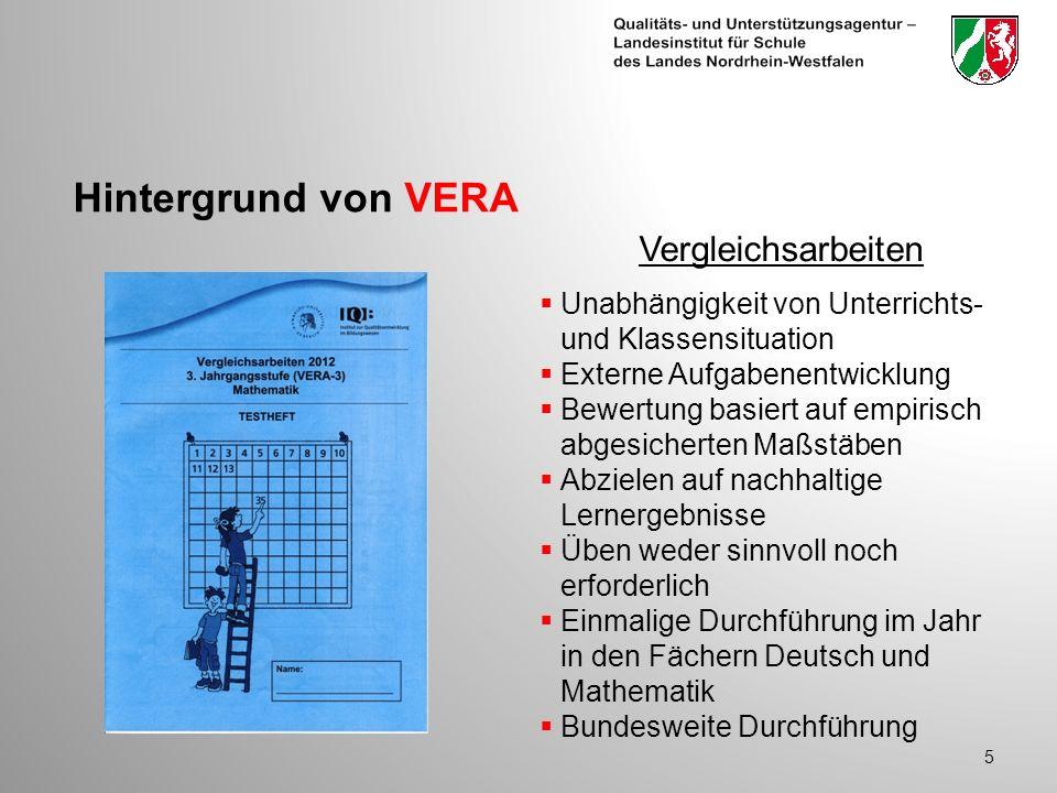 Hintergrund von VERA 5 Unabhängigkeit von Unterrichts- und Klassensituation Externe Aufgabenentwicklung Bewertung basiert auf empirisch abgesicherten Maßstäben Abzielen auf nachhaltige Lernergebnisse Üben weder sinnvoll noch erforderlich Einmalige Durchführung im Jahr in den Fächern Deutsch und Mathematik Bundesweite Durchführung Vergleichsarbeiten