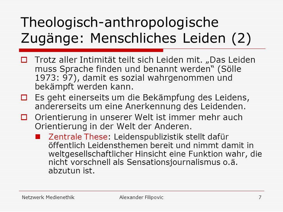 Netzwerk MedienethikAlexander Filipovic7 Theologisch-anthropologische Zugänge: Menschliches Leiden (2) Trotz aller Intimität teilt sich Leiden mit. Da