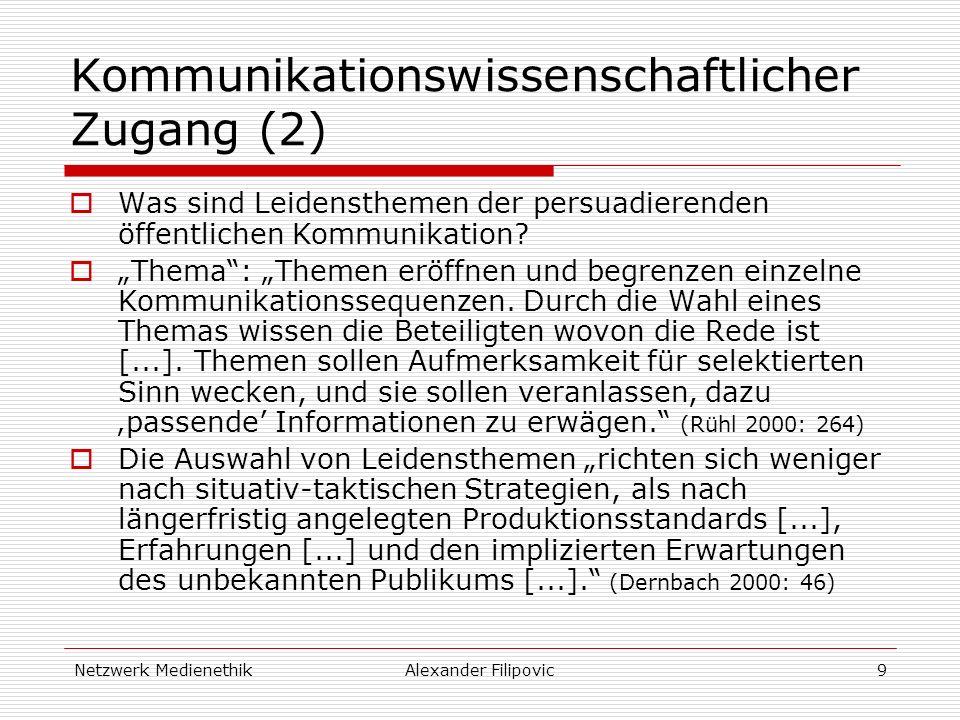Netzwerk MedienethikAlexander Filipovic9 Kommunikationswissenschaftlicher Zugang (2) Was sind Leidensthemen der persuadierenden öffentlichen Kommunikation.