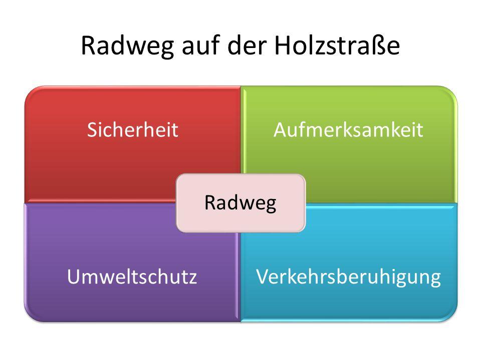 Radweg auf der Holzstraße SicherheitAufmerksamkeit UmweltschutzVerkehrsberuhigung Radweg