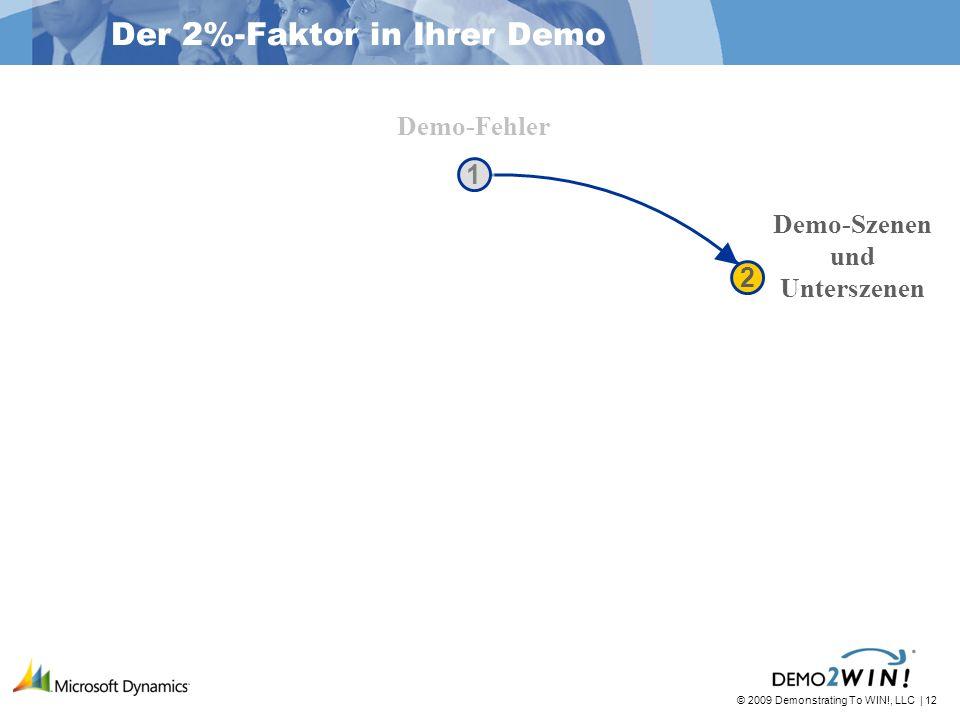 © 2009 Demonstrating To WIN!, LLC | 12 Der 2%-Faktor in Ihrer Demo Demo-Fehler Demo-Szenen und Unterszenen 1 1 2 2
