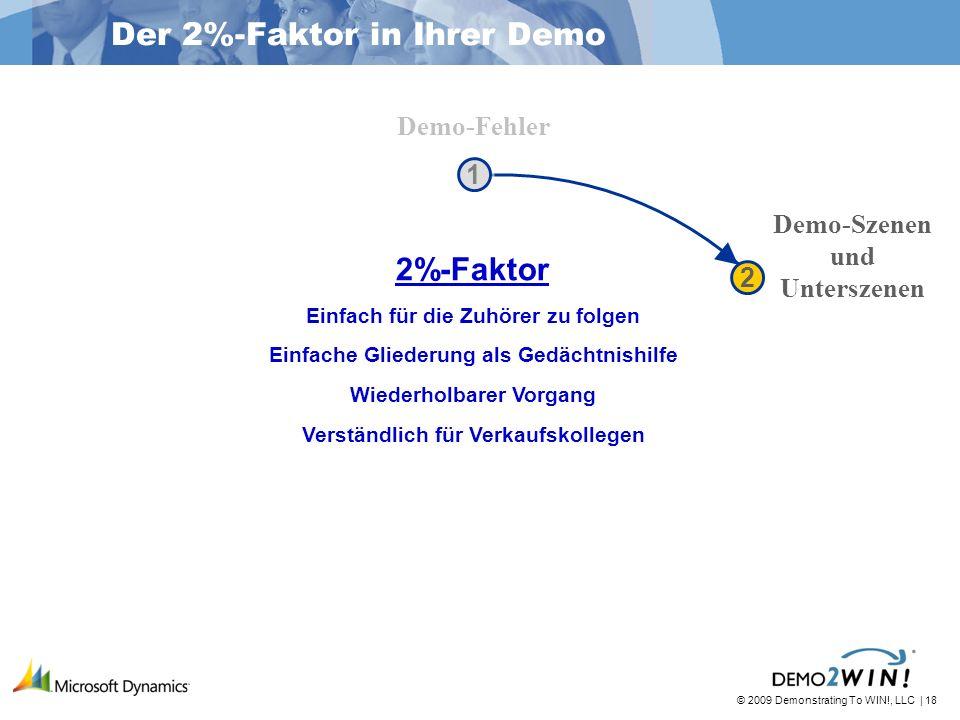 © 2009 Demonstrating To WIN!, LLC | 18 Der 2%-Faktor in Ihrer Demo Demo-Fehler Demo-Szenen und Unterszenen 1 1 2 2 2%-Faktor Einfach für die Zuhörer zu folgen Einfache Gliederung als Gedächtnishilfe Wiederholbarer Vorgang Verständlich für Verkaufskollegen