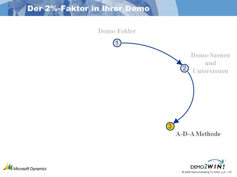 © 2009 Demonstrating To WIN!, LLC | 19 1 1 2 2 3 3 Der 2%-Faktor in Ihrer Demo Demo-Fehler Demo-Szenen und Unterszenen A-D-A Methode