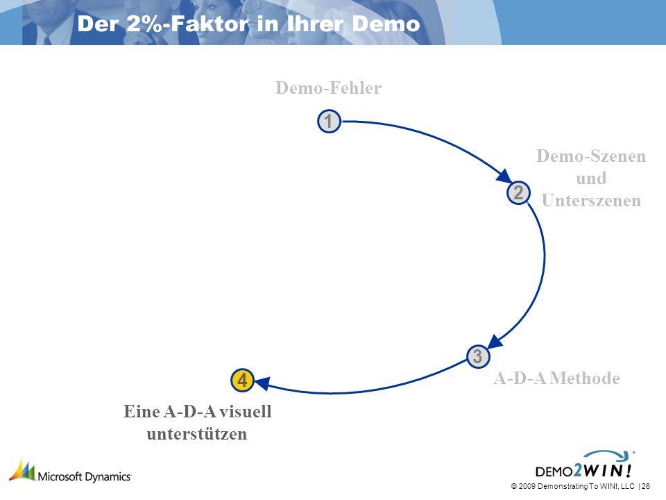 © 2009 Demonstrating To WIN!, LLC | 26 1 1 2 2 3 3 4 4 Der 2%-Faktor in Ihrer Demo Demo-Fehler Demo-Szenen und Unterszenen A-D-A Methode Eine A-D-A visuell unterstützen