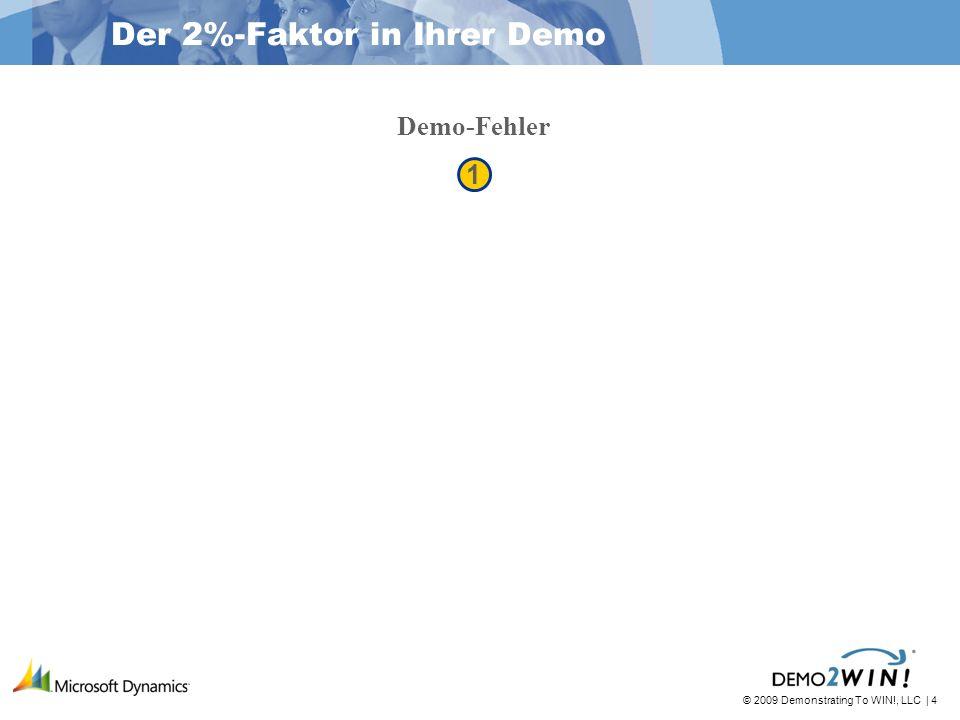 © 2009 Demonstrating To WIN!, LLC   25 1 1 2 2 3 3 2%-Faktor Kontext & Vorzüge im Vergleich zu Features & Funktionen Interessenten-Fokus im Vergleich zu Software-Fokus Fehlervermeidung Ermöglicht es Ihnen, zu improvisieren Der 2%-Faktor in Ihrer Demo Demo-Fehler Demo-Szenen und Unterszenen A-D-A Methode