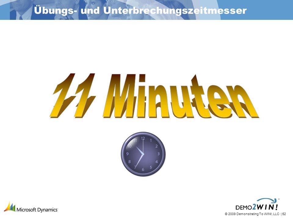 © 2009 Demonstrating To WIN!, LLC | 52 Übungs- und Unterbrechungszeitmesser
