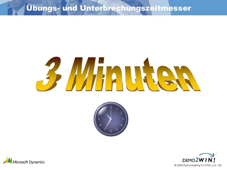 © 2009 Demonstrating To WIN!, LLC | 60 Übungs- und Unterbrechungszeitmesser