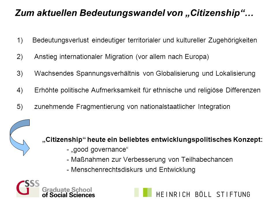 Zum aktuellen Bedeutungswandel von Citizenship… 1) Bedeutungsverlust eindeutiger territorialer und kultureller Zugehörigkeiten 2) Anstieg internationa