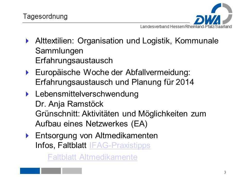 Landesverband Hessen/Rheinland-Pfalz/Saarland Tagesordnung 3 Alttextilien: Organisation und Logistik, Kommunale Sammlungen Erfahrungsaustausch Europäi