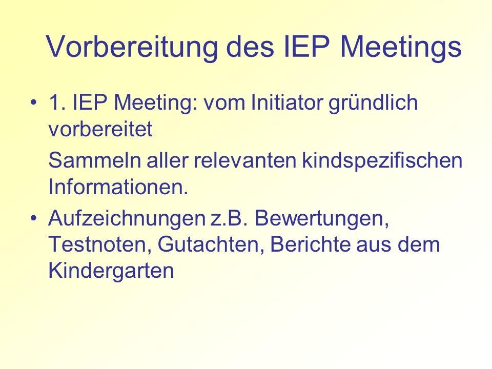 Vorbereitung des IEP Meetings 1. IEP Meeting: vom Initiator gründlich vorbereitet Sammeln aller relevanten kindspezifischen Informationen. Aufzeichnun