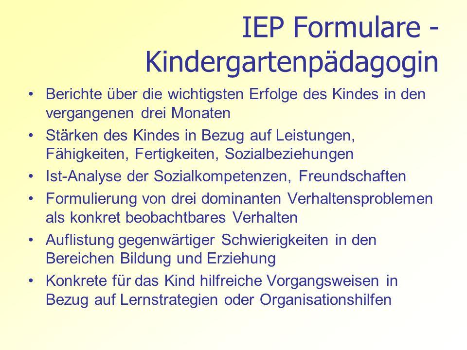 IEP Formulare - Kindergartenpädagogin Berichte über die wichtigsten Erfolge des Kindes in den vergangenen drei Monaten Stärken des Kindes in Bezug auf