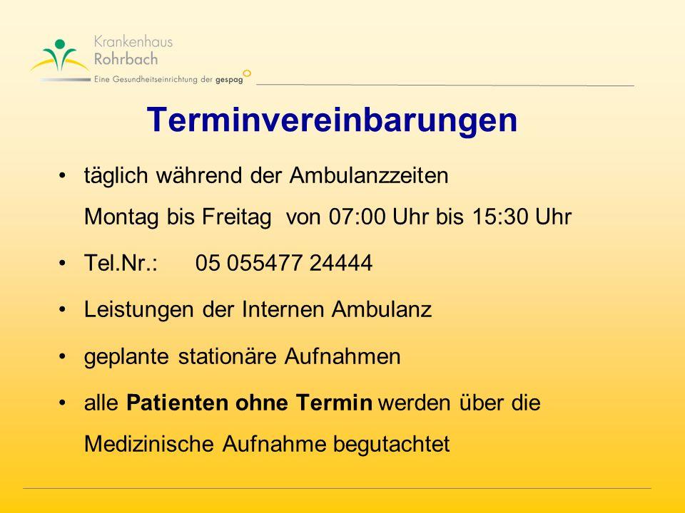 Terminvereinbarungen täglich während der Ambulanzzeiten Montag bis Freitag von 07:00 Uhr bis 15:30 Uhr Tel.Nr.:05 055477 24444 Leistungen der Internen