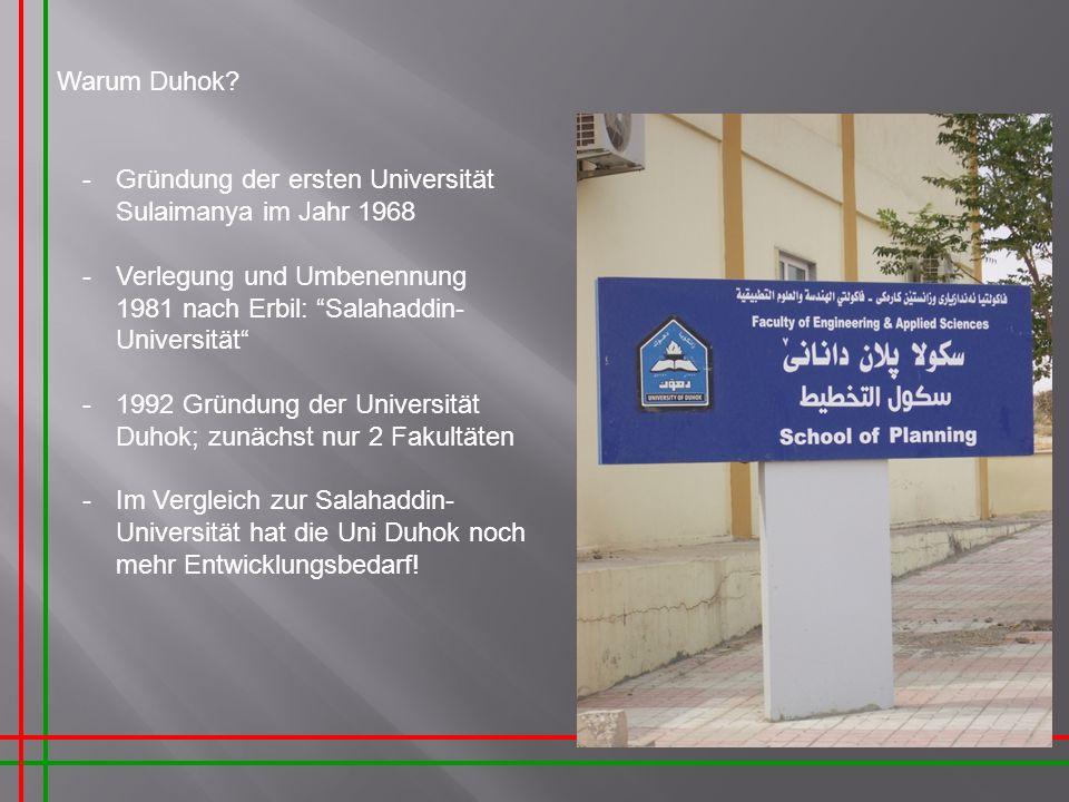 Warum Duhok? -Gründung der ersten Universität Sulaimanya im Jahr 1968 -Verlegung und Umbenennung 1981 nach Erbil: Salahaddin- Universität -1992 Gründu