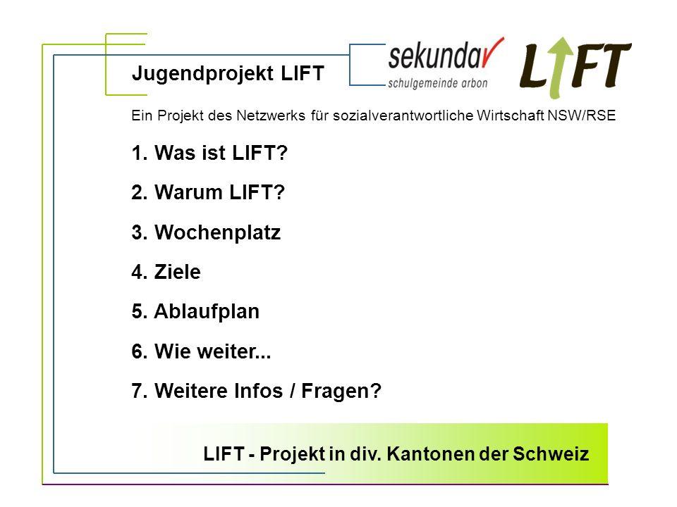 1. Was ist LIFT? 2. Warum LIFT? 3. Wochenplatz 4. Ziele 5. Ablaufplan 6. Wie weiter... 7. Weitere Infos / Fragen? Jugendprojekt LIFT Ein Projekt des N