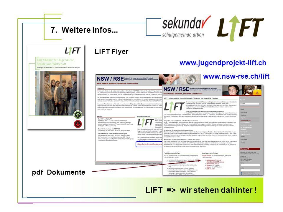 7. Weitere Infos... LIFT => wir stehen dahinter ! LIFT Flyer www.nsw-rse.ch/lift pdf Dokumente www.jugendprojekt-lift.ch