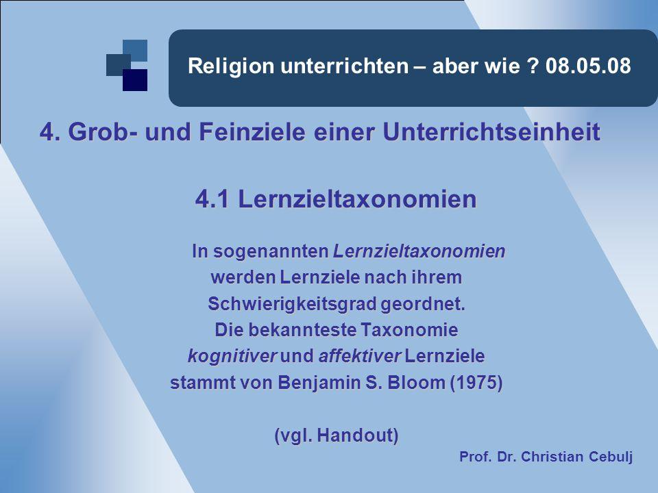 Religion unterrichten – aber wie ? 08.05.08 4. Grob- und Feinziele einer Unterrichtseinheit 4.1 Lernzieltaxonomien In sogenannten Lernzieltaxonomien w