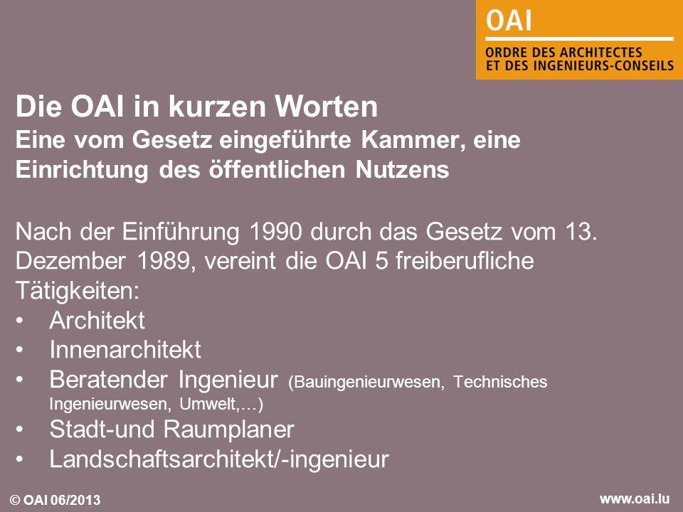 © OAI 06/2013 www.oai.lu Nach der Einführung 1990 durch das Gesetz vom 13. Dezember 1989, vereint die OAI 5 freiberufliche Tätigkeiten: Architekt Inne