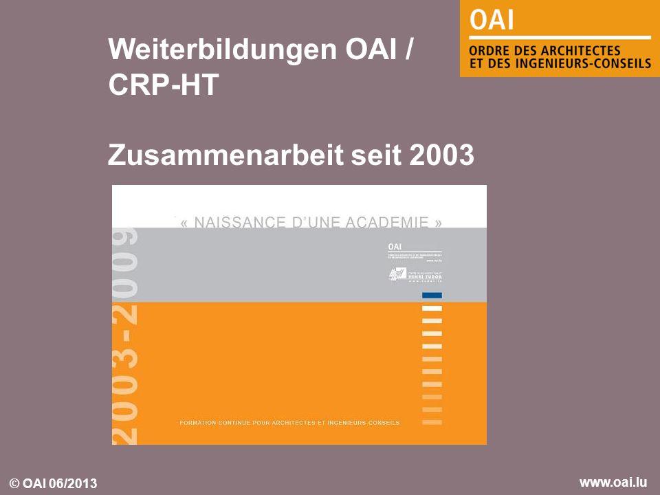 © OAI 06/2013 www.oai.lu Weiterbildungen OAI / CRP-HT Zusammenarbeit seit 2003