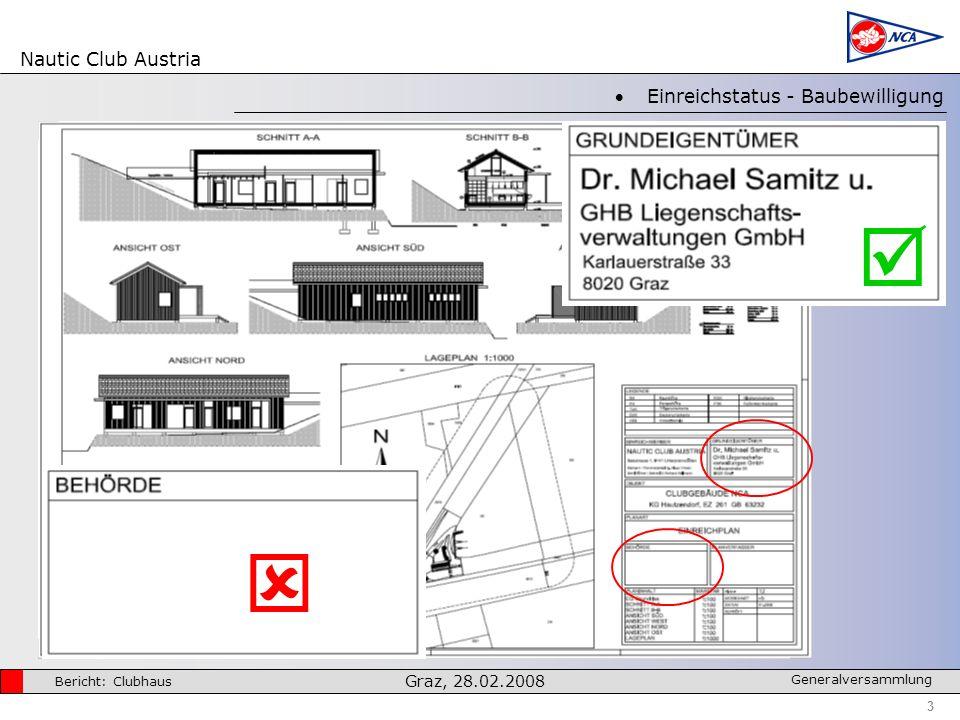 Nautic Club Austria 3 Bericht: Clubhaus Graz, 28.02.2008 Generalversammlung Einreichstatus - Baubewilligung