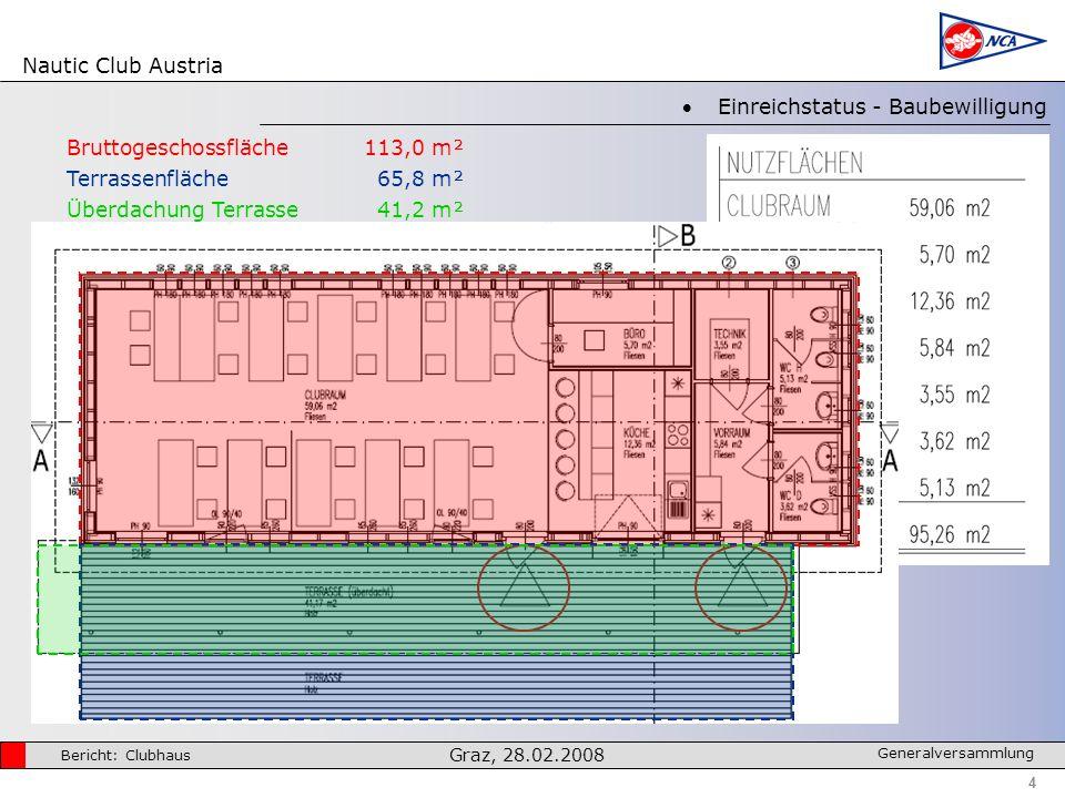 Nautic Club Austria 4 Bericht: Clubhaus Graz, 28.02.2008 Generalversammlung Einreichstatus - Baubewilligung Bruttogeschossfläche113,0 m² Terrassenfläche65,8 m² Überdachung Terrasse41,2 m²