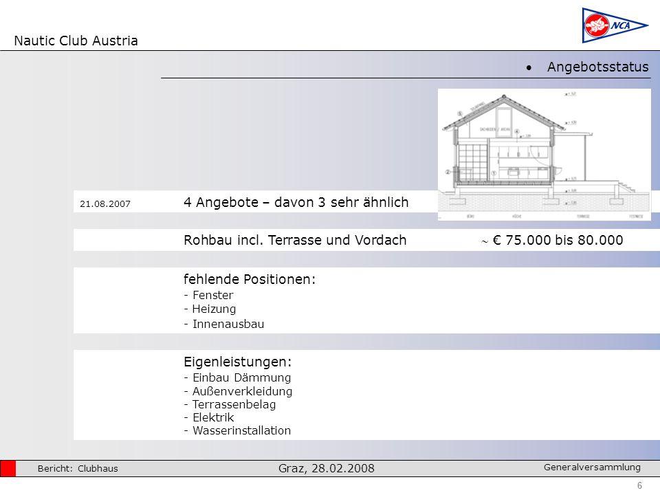 Nautic Club Austria 6 Bericht: Clubhaus Graz, 28.02.2008 Generalversammlung Angebotsstatus Rohbau incl.