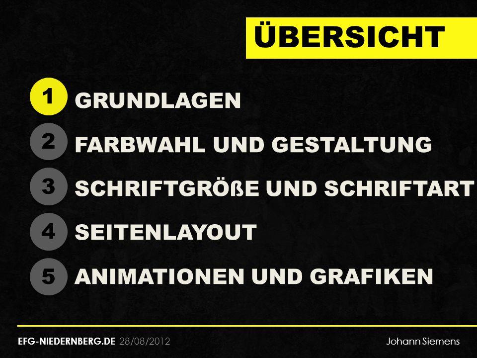28/08/2012 ÜBERSICHT GRUNDLAGEN FARBWAHL UND GESTALTUNG SCHRIFTGRÖßE UND SCHRIFTART SEITENLAYOUT ANIMATIONEN UND GRAFIKEN 1 1 2 2 3 3 4 4 5 5 EFG-NIEDERNBERG.DE Johann Siemens