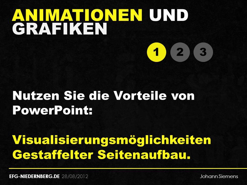 28/08/2012 ANIMATIONEN UND GRAFIKEN EFG-NIEDERNBERG.DE 1 1 2 2 3 3 Nutzen Sie die Vorteile von PowerPoint: Visualisierungsmöglichkeiten Gestaffelter Seitenaufbau.