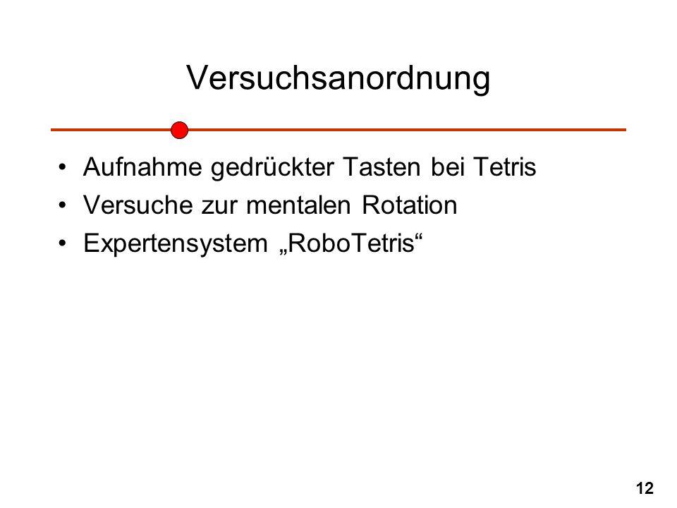 12 Versuchsanordnung Aufnahme gedrückter Tasten bei Tetris Versuche zur mentalen Rotation Expertensystem RoboTetris