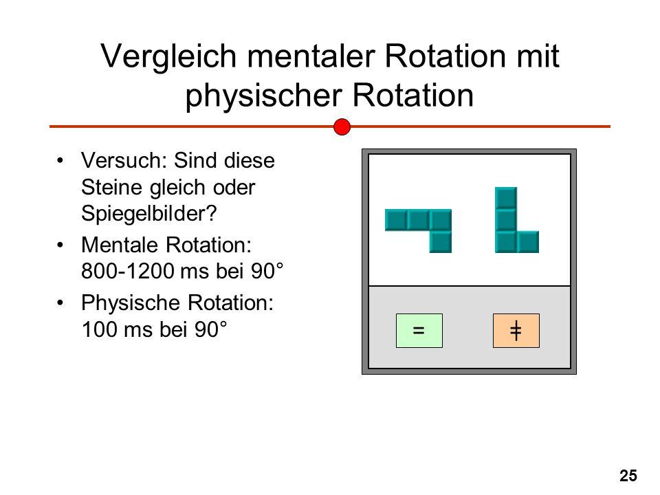 25 Vergleich mentaler Rotation mit physischer Rotation Versuch: Sind diese Steine gleich oder Spiegelbilder? Mentale Rotation: 800-1200 ms bei 90° Phy